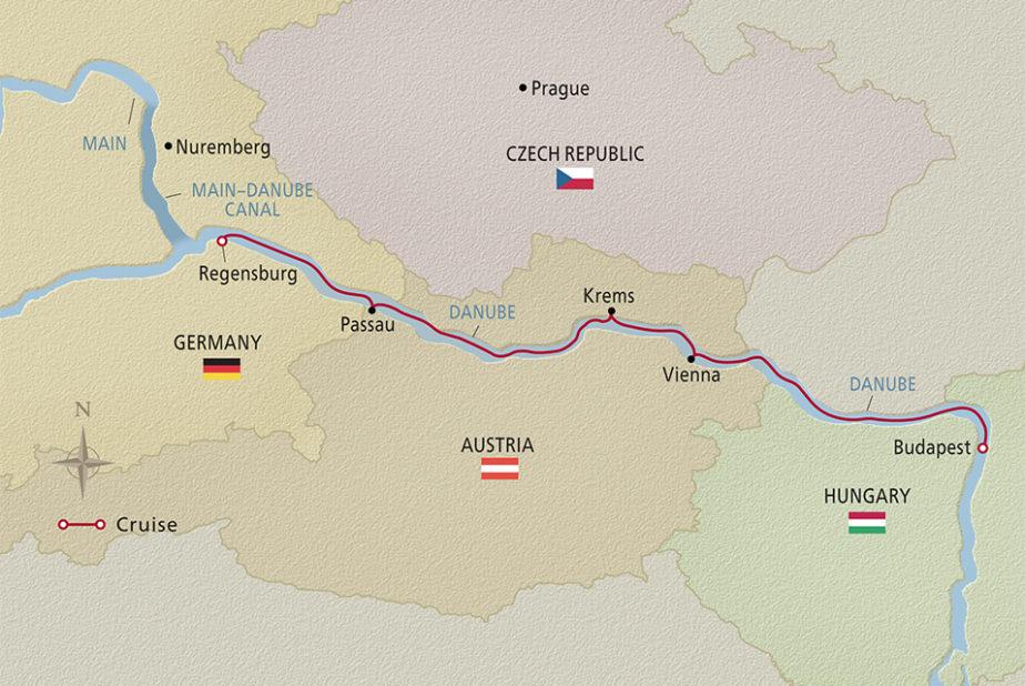 Romantic Danube Cruise Map